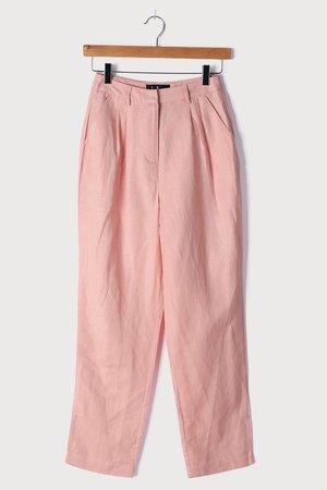 Pink Trousers - Linen Pants - Woven Linen-Blend Pants - Lulus