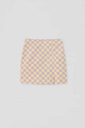Check mini skirt with slit