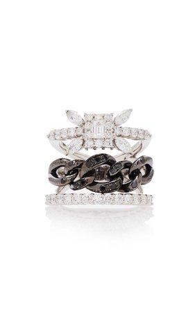 Yeprem Stack Illusion Black Strada Chain And Diamond Ring