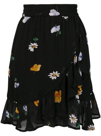 Ganni Floral Ruffle Mini Skirt - Farfetch