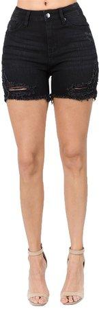 Distressed Denim Shorts Black