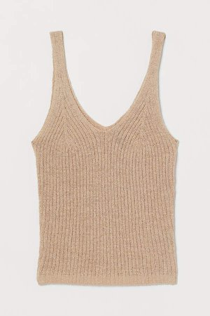 Rib-knit Tank Top - Beige