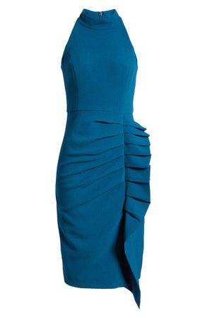 Eliza J Sleeveless Pleat Ruffle Sheath Dress | Nordstrom
