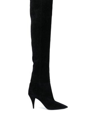 Black Saint Laurent Abey suede boots - Farfetch