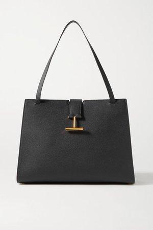 Tara Textured-leather Tote - Black