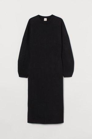 Fine-knit Dress - Black