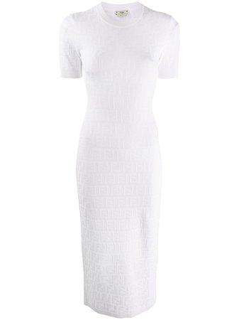 Fendi Stickad Midiklänning Med Monogram - Farfetch