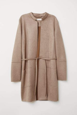 Faux Suede Coat - Brown