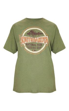 Khaki South Dakota Printed T Shirt | PrettyLittleThing USA