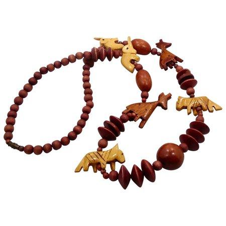 Animal Necklace, Vintage Necklace, Carved Wood, Elephant Giraffe, SOLD | Ruby Lane