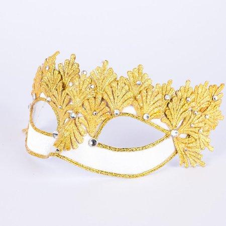 VIVO Masks Colombina Fenice Gold White Masquerade Mask