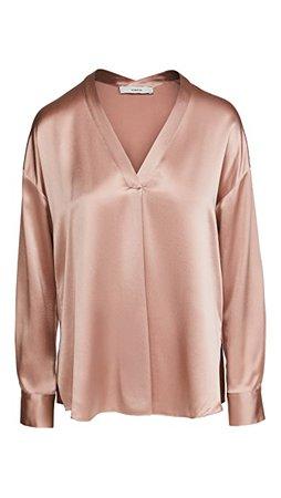 Vince V Neck Popover Silk Shirt | SHOPBOP