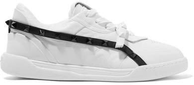 Garavani The Rockstud Armor Leather Sneakers - White