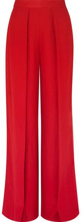 Satin-trimmed Crepe Wide-leg Pants - Red