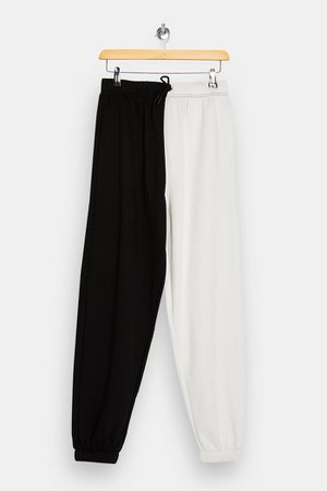Black And White Spliced Sweatpants | Topshop