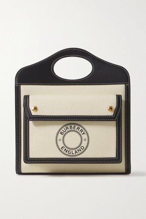 Ecru Mini leather-trimmed printed canvas tote | Burberry | NET-A-PORTER