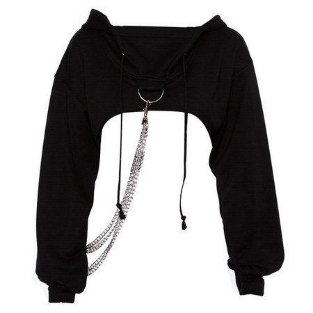 Black Hooded Crop Top With Chains