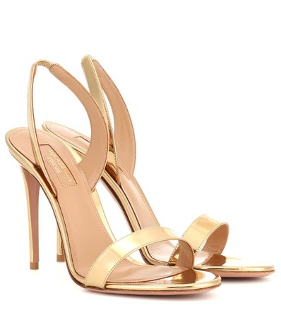 Aquazzura - So Nude 105 patent leather sandals   Mytheresa