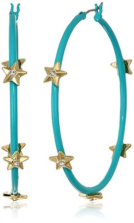 Amazon.com: Steve Madden Women's Rhinestone Star Studded Large Aqua Hoops in Yellow Gold-Tone Earrings, One Size: Clothing