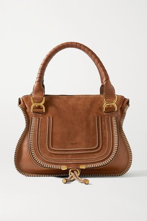 Marcie Medium Suede And Textured-leather Tote - Tan