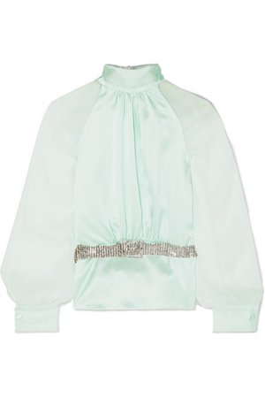 HARMUR   Open-back belted silk-satin and crepon blouse   NET-A-PORTER.COM