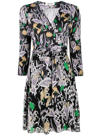 Shop black & green DVF Diane von Furstenberg floral-print silk wrap dress with Express Delivery - Farfetch