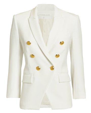 White Blazer with Gold Buttons   Veronica Beard   INTERMIX®