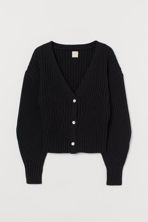 Rib-knit Cardigan - Black - Ladies | H&M CA