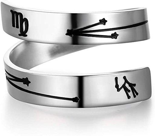 Amazon.com: YOYO&YOKI Silver Zodiac Ring Stainless Steel Engraving Size Adjustable Constellation Birthday Ring Gift for Women Teens Girls (Gemini): Jewelry