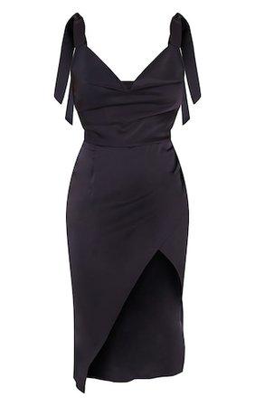 Black Satin Tie Strap Cowl Neck Midi Dress   PrettyLittleThing USA