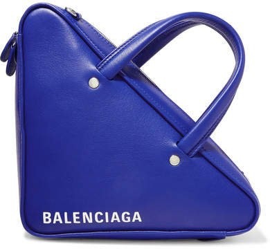 Triangle Duffle Printed Leather Tote - Royal blue