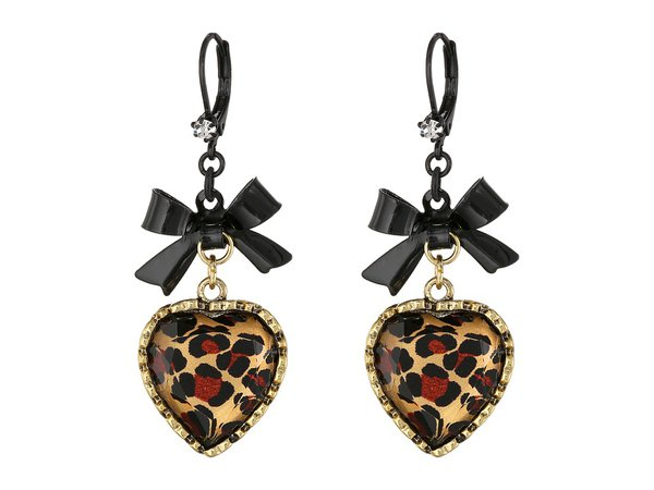 Betsey Johnson - Euro Leopard Heart Black Bow (Leopard/Pot Black) Earring