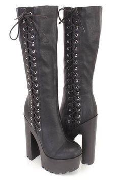 Gothic Punk Rock Side Lace-up Lug Sole Chunky High Heel Platform Black Knee High Boots