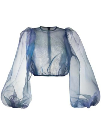Beaufille Sheer Puff Blouse T12 Blue | Farfetch