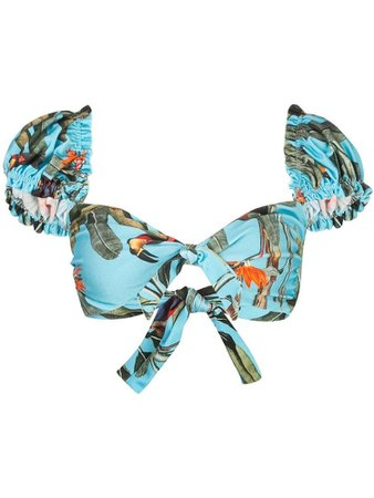Sold Out  PATBO tropical-print detachable-sleeved bikini top