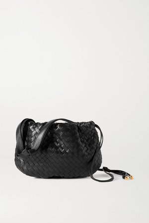 The Small Bulb Gathered Intrecciato Leather Shoulder Bag - Black