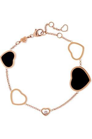 Chopard   Happy Hearts 18-karat rose gold, diamond and onyx bracelet   NET-A-PORTER.COM