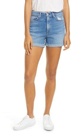 Nina Distressed High Waist Denim Cutoff Shorts