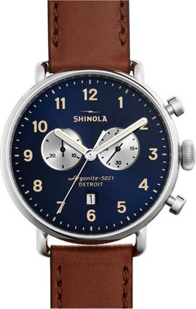 The Canfield Chrono Leather Strap Watch, 43mm | Nordstrom