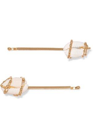 Rosantica | Beatrix set of two gold-tone and shell hair pins | NET-A-PORTER.COM
