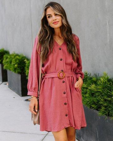 Noho Linen Blend Pocketed Button Down Dress - Slate Rose – VICI