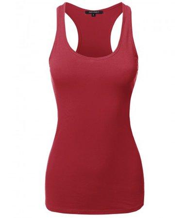Solid Basic Sleeveless Racer-Back Cotton Based Tank Top | 08 Dark Red