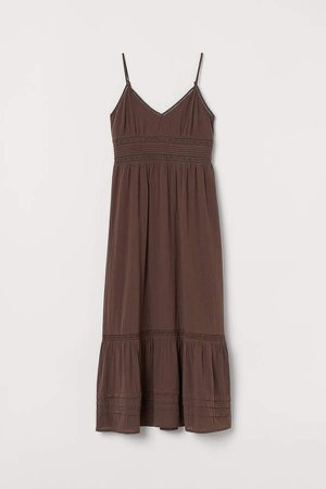Long Dress with Lace Details - Brown