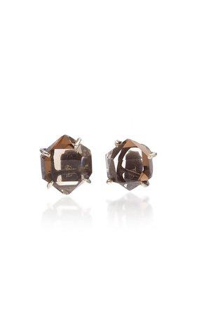 Herkimer Quartz Oxidized Silver Earrings by Kika Alvarenga | Moda Operandi