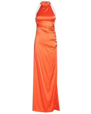 Retrofête Sandy Stretch-Silk Halter Gown   INTERMIX®