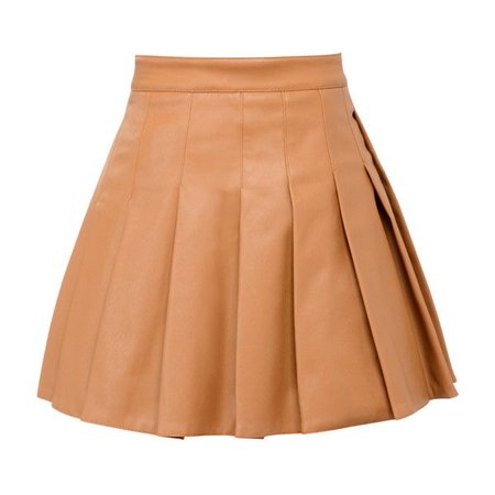 'Teo' Tan Vegan Leather Skater Skirt