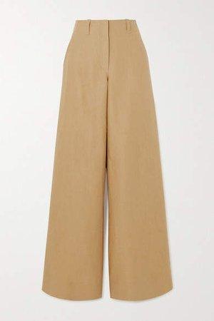Linen Wide-leg Pants - Beige