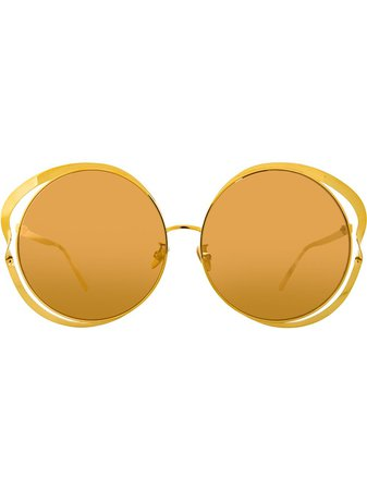 Shop yellow Linda Farrow 660 C1 round sunglasses with Express Delivery - Farfetch