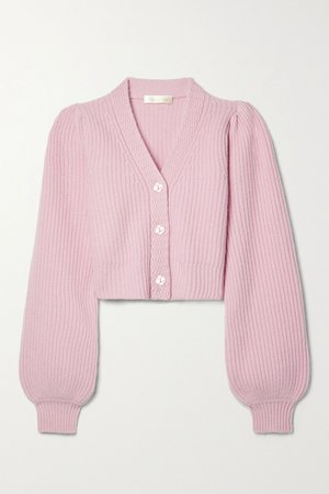Pink Avignon cropped ribbed wool and cashmere-blend cardigan   LoveShackFancy   NET-A-PORTER