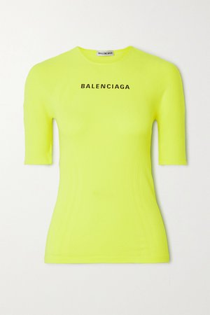 Yellow Printed neon stretch-jersey T-shirt   Balenciaga   NET-A-PORTER